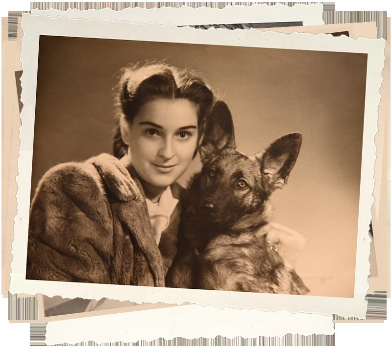 Isabella con il suo cane lupo