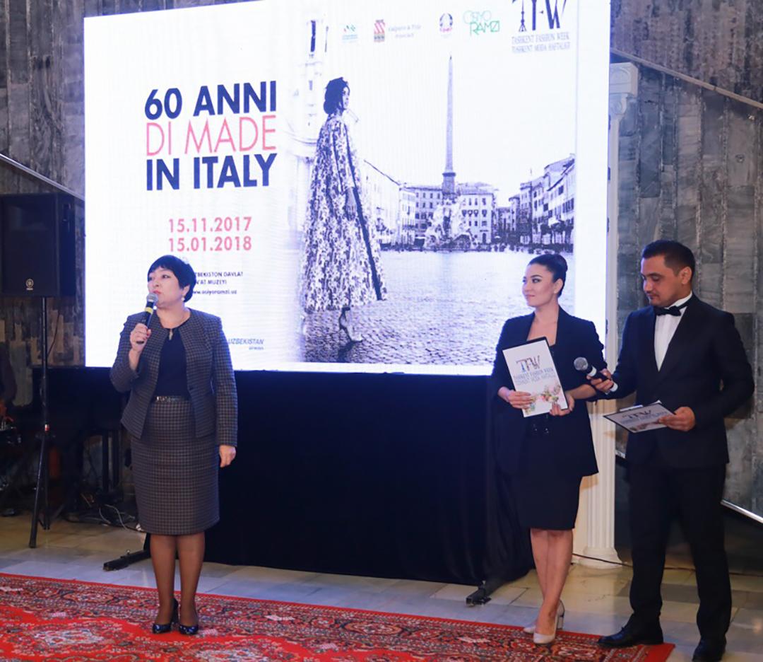 """Approda a Tashkent, in Uzbekistan, l'abito da sera della collezione, nella mostra """"60 anni di made in Italy"""""""